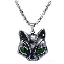 Cat Head Eye Necklace Pendant, LOYEH Vintage Gothic Necklaces Pendants Men Women Gift Jewelry Evil Green Eye 1.41x1.40inches
