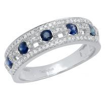 Dazzlingrock Collection 10K Each 3 MM Round Gemstone & White Diamond Ladies Anniversary Wedding Band, White Gold