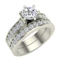 Wedding Ring set for women Diamond Bridal set 14K Gold w/band Gift Box Authenticity Cards 1.10 carat t.w. (G, I1)