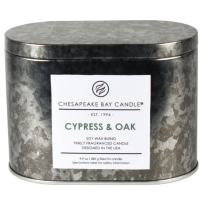 Chesapeake Bay Candle Tin with Double Wick Scented Candle, Cypress & Oak, Oval