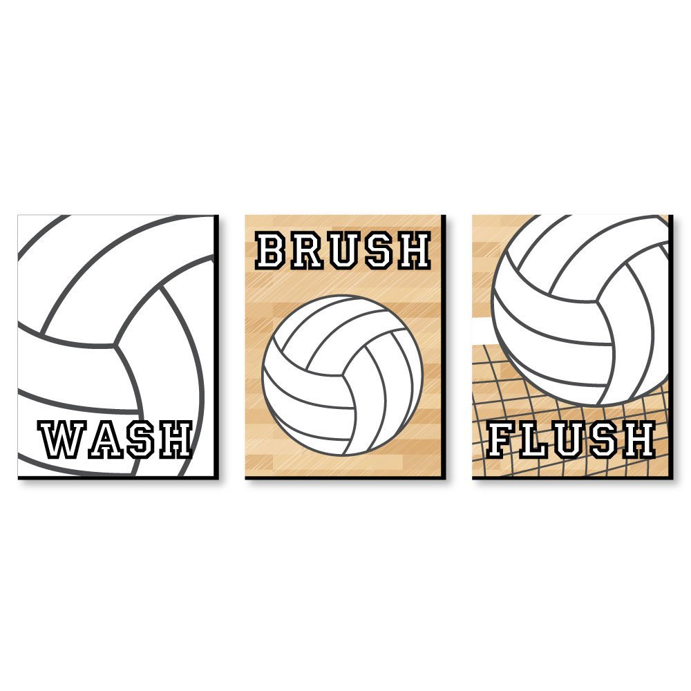 Big Dot of Happiness Bump, Set, Spike - Volleyball - Kids Bathroom Rules Wall Art - 7.5 x 10 inches - Set of 3 Signs - Wash, Brush, Flush