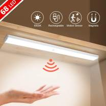 Rosybeat 68 LED Closet Light Wireless with Rechargeable Dimmable Motion Sensor and Large Battery Life Cabinet Light Under Counter Light for Closets Cabinet,Bedroom Bathroom Kitchen,(2 Sensor Modes)