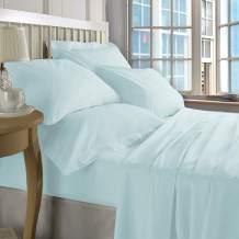 ZECOTT 100% Cotton Sheet Set Full-Baby Blue Sheet Sets Full Size-400 Thread Count Sheets Full-Long Staple Cotton Full Sheets-Sateen Sheets Full Size-Silky Soft Sheets-Deep Pocket Full Fitted Sheet