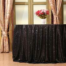 "Eternal Beauty Black 108"" Round Sequin Tablecloth- Sparkly Sequin Overlay for Wedding Party/Dessert Table/Christmas Decoration(108-Inch, Black)"