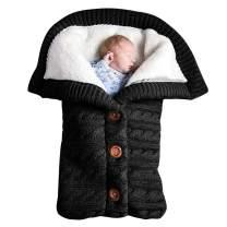 Newborn Baby Swaddle Blanket, Baby Kids Toddler Knit Soft Warm Fleece Blanket Swaddle Sleeping Bag Stroller Unisex Wrap for Boys Girls (Black)