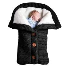 Newborn Baby Swaddle Blanket, Baby Kids Toddler Knit Soft Warm Fleece Blanket Swaddle Sleeping Bag Stroller Unisex Wrap for Boys Girls (Black)