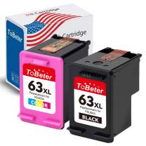ToBeter Remanufactured Ink Cartridge Replacement for HP 63XL 63 XL Used in HP Envy 4520 4512 Officejet 4650 3830 3833 Deskjet 1112 3630 3632 3633 3634 3636 3637(1 Black, 1 Tri-Color)