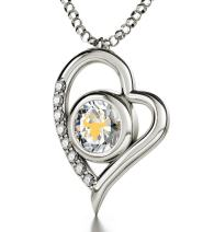 "925 Sterling Silver Taurus Heart Necklace Zodiac Pendant for Birthdays 20th April to 20th May 24k Gold Inscribed with Star Sign and Symbol on Swarovski Crystal Stone, 18"" Chain"