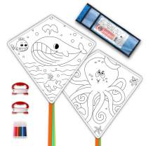 DIY Kites for Kids Kite Making Kit Bulk, Decorating Coloring Kite Party Pack,White Diamond Kite Kits (2 Pack Ready to Color-Octopus Whale)