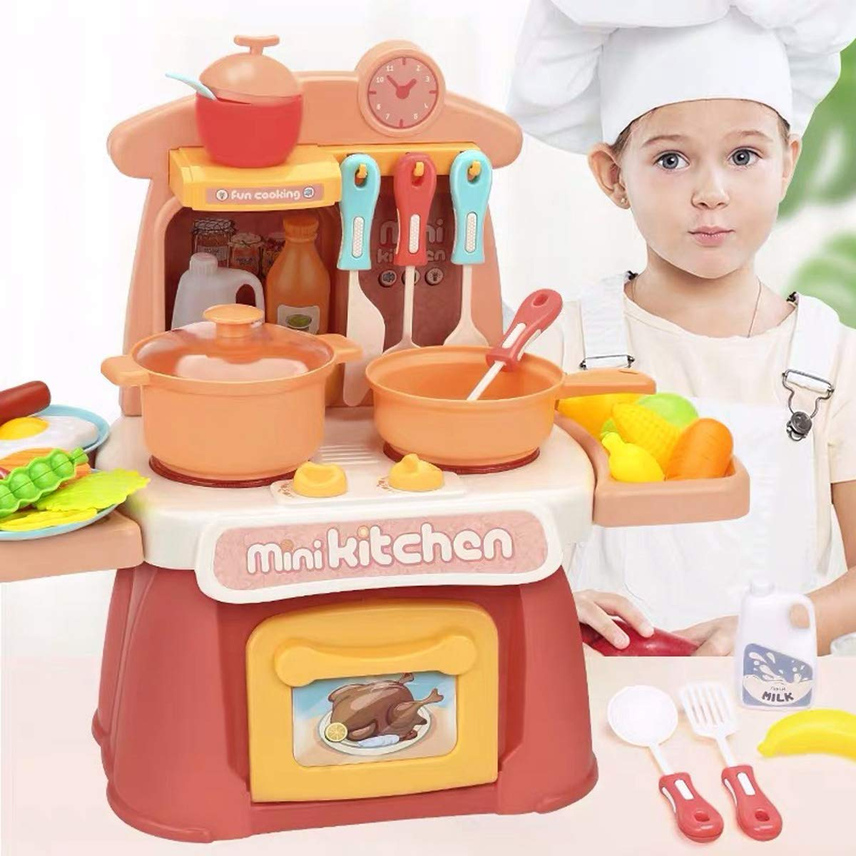 Super-ele kitchen set Kids Cooking Toys Children Mini Kitchen Playset Realistic Miniature Sounds Lights Chefs Pretend Play Dessert Food Party Role Toy Educational for toddlers Birthday Boys Girl(Pink)