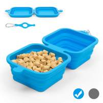 Collapsible Dog Bowl, 2-in-1 Expandable Portable Dog Food Bowl, BPA-Free Food Grade Silicone Travel Bowl, Large-Capacity Pet Bowl with Carabiner for Outdoor Hiking Camping Picnic - Blue&Grey