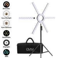 GVM Led Ring Lights with Detachable Bars, 90W Dimmable Led Video Lighting Kit with Tripod, Bi-Color Variable 3200K~5600K CRI 97+ Video Lights for Live Stream/Makeup/YouTube Video/Vlogs