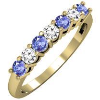 Dazzlingrock Collection 14K Ladies 7 Stone Bridal Wedding Band Anniversary Ring, Yellow Gold