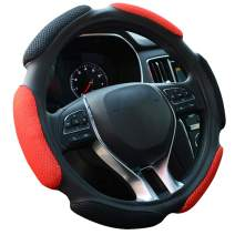 FHQSX Auto Steering Wheel Cover Soft Hand Pad Cushion Slip-on Universal Fit 15'' / 38 cm (Black&red)