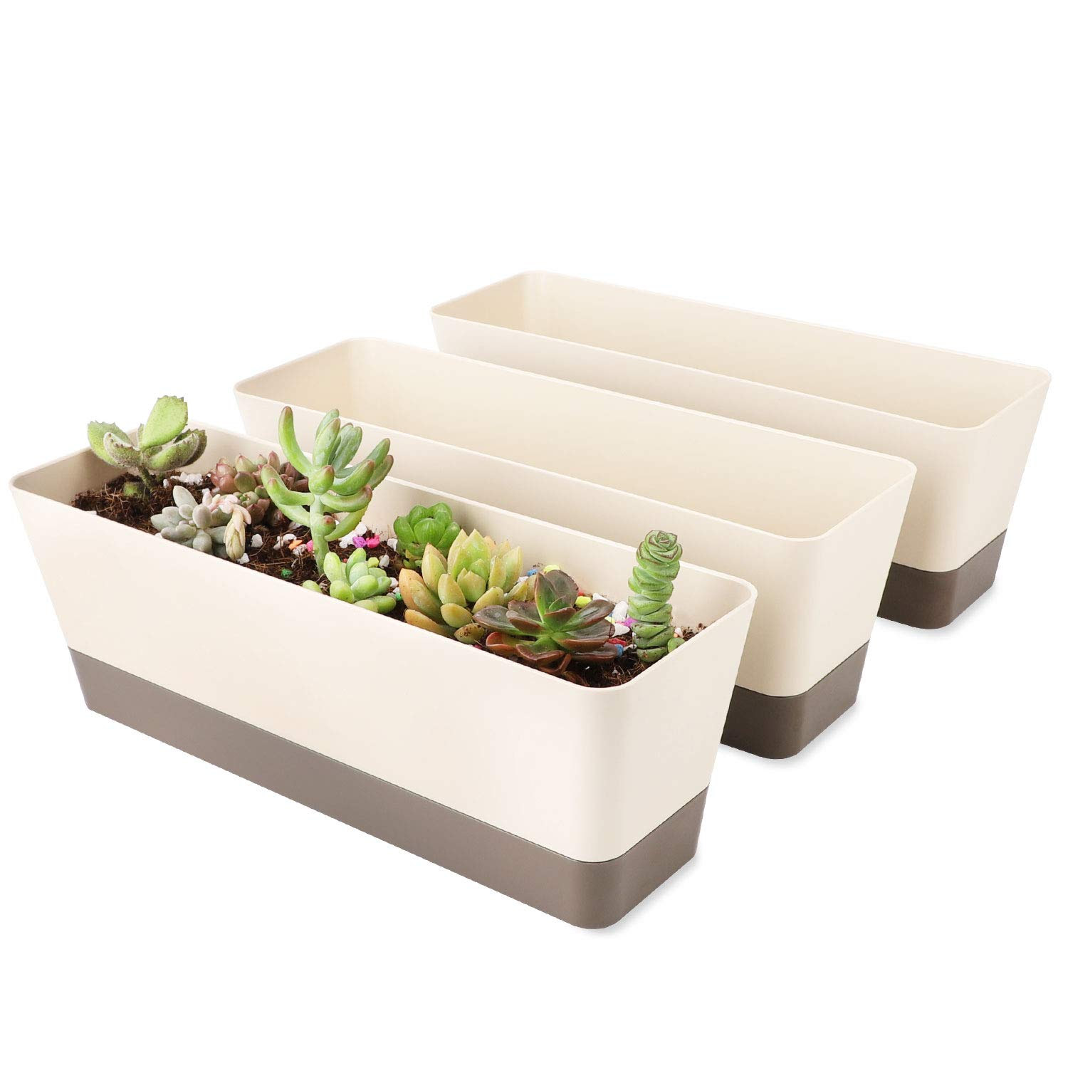 """Rectangle Planter for Plants, Suream 3 Packs 12"""" Modern Small Succulent Cactus Window Boxes with Saucer Plastic Plant Containers for Windowsill, Garden Balcony, Home Office Indoor Outdoor Decoration"""
