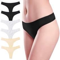 Wealurre Women's Low Rise Thongs Cotton Stretch Panties Breathable Bikini Underwear Multipack