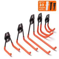BOSSAND 5-Pack Steel Garage Storage Utility Double Hooks, Heavy Duty for Organizing Power Tools,Ladders,Bulk items,with Screws and Wall Anchors
