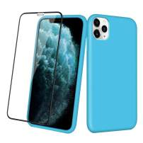 Aemotoy Case for iPhone 11 Pro Max Soft Rubber Silicone Case Full Body Wrapped 2 in 1 with Tempered Glass Anti-Scratch Shock Absorption Slim Cover Case for 2019 Release iPhone 11 Pro Max, Sky Blue