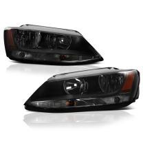 VIPMOTOZ Chrome Smoke OE-Style Headlight Headlamp Assembly For 2011-2018 Volkswagen VW MK6 Jetta Sedan Halogen Model, Driver & Passenger Side