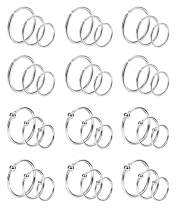 Vegolita 36Pcs 20G Stainless Steel Nose Rings Hoop for Women Men Cartilage Tragus Helix Piercing Lip Rings 8-12MM