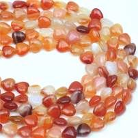 """Oameusa Agate Beads 10mm Heart Red Agate Beads Round Beads Gemstone Beads Loose Beads Accessories Agate Beads for Jewelry Making 15"""" 1 Strand per Bag-Wholesale"""