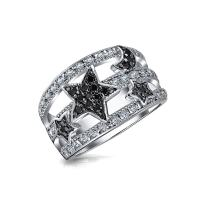 Bling Jewelry Black White Pave Cubic Zirconia CZ Fashion Celestial Moon Star Statement Ring for Women for Teen Silver Plated Brass