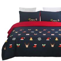 Vaulia Microfiber Duvet Cover Set, Print Pattern Design for New Year Decorations, Blue/Red - Queen