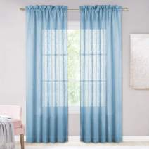 """NICETOWN Privacy Translucent Sheer Curtains - Rod Pocket Design Faux Linen Semi Voile Textured Look Drapes for Bedroom/Study Room/Sliding Door (52"""" x 84"""", 1 Pair, Baby Blue)"""