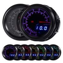 "HOTSYSTEM 7 Color Air/Fuel Ratio AFR Gauge Kit Narrowband Pointer & LED Digital Readouts 2-1/16"" 52mm Black Dial for Car Truck"