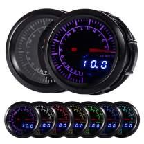"""HOTSYSTEM 7 Color Pyrometer Exhaust Gas Temperature EGT Gauge Kit 300 to 1300 Celsius Pointer & LED Digital Readouts 2-1/16"""" 52mm Black Dial for Car Truck(Celsius)"""