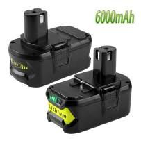 18Volt 6000mAh P108 Battery for Ryobi 18V Battery Lithium ion Replacement Ryobi one+ P108 P105 P102 P103 P107 P109 P104 P100 Tools Batteries, (2 Packs)
