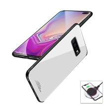 evershare Galaxy S10 Plus Case Tempered Glass Back Soft TPU Bumper Anti-Scratch Shockproof Drop Protection Pure Color Slim Fit Cover for Galaxy S10+, White