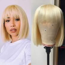 ALLRUN Blonde Human Hair Wig 613 Short Bob Wigs with Bangs Pre Plucked Brazilian Straight Bob Wigs Machine Made Wigs For Black Women (12inch)