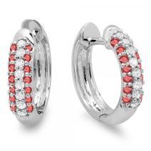 Dazzlingrock Collection 14K Ladies Pave Set Huggies Hoop Earrings, White Gold