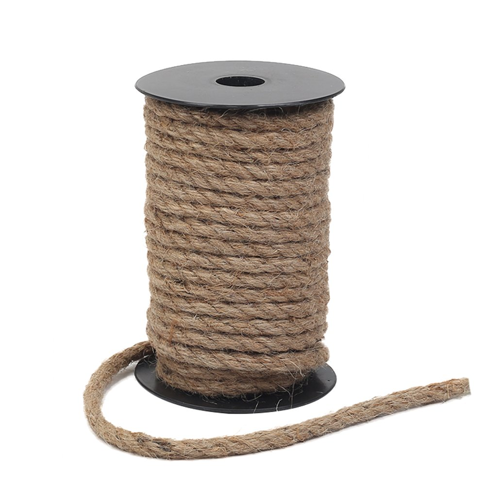 Tenn Well 8mm Jute Rope, 50 Feet Strong and Heavy Duty Natural Jute Twine for Gardening, Bundling, Camping, Decorating (Brown)