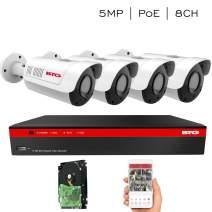 BTG 8CH 5MP Poe Security IP NVR Camera System 4K NVR Built-in PoE, 4 Outdoor 5MP 2.8-12mm Varifocal Bullet Surveillance IP PoE Cameras HD 2592 x 1944P IR CCTV System H.265 1TB HDD
