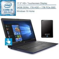 "2020 HP 17.3"" Touchscreen Laptop Computer/ Intel Quad-Core i5-8265U (Beats i7-7500U)/ 24GB DDR4 RAM/ 1TB HDD + 1TB PCIe SSD/ Windows 10 Home/ Blue/ EST 500GB External Hard Drive"