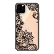 """HUIYCUU Compatible with iPhone 11 Pro MAX Case 6.5"""", Shockproof Cute Slim Fit Anti-Slip Clear Design Flower Pattern Soft Bumper + Hard Cover Girl Women Case for iPhone 11Pro XI Max, Black Lace Floral"""