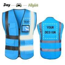 High Visibility Safety Vest Custom Your Logo Protective Workwear 5 Pockets With Reflective Strips Outdoor Work Vest (Blue (3XL))