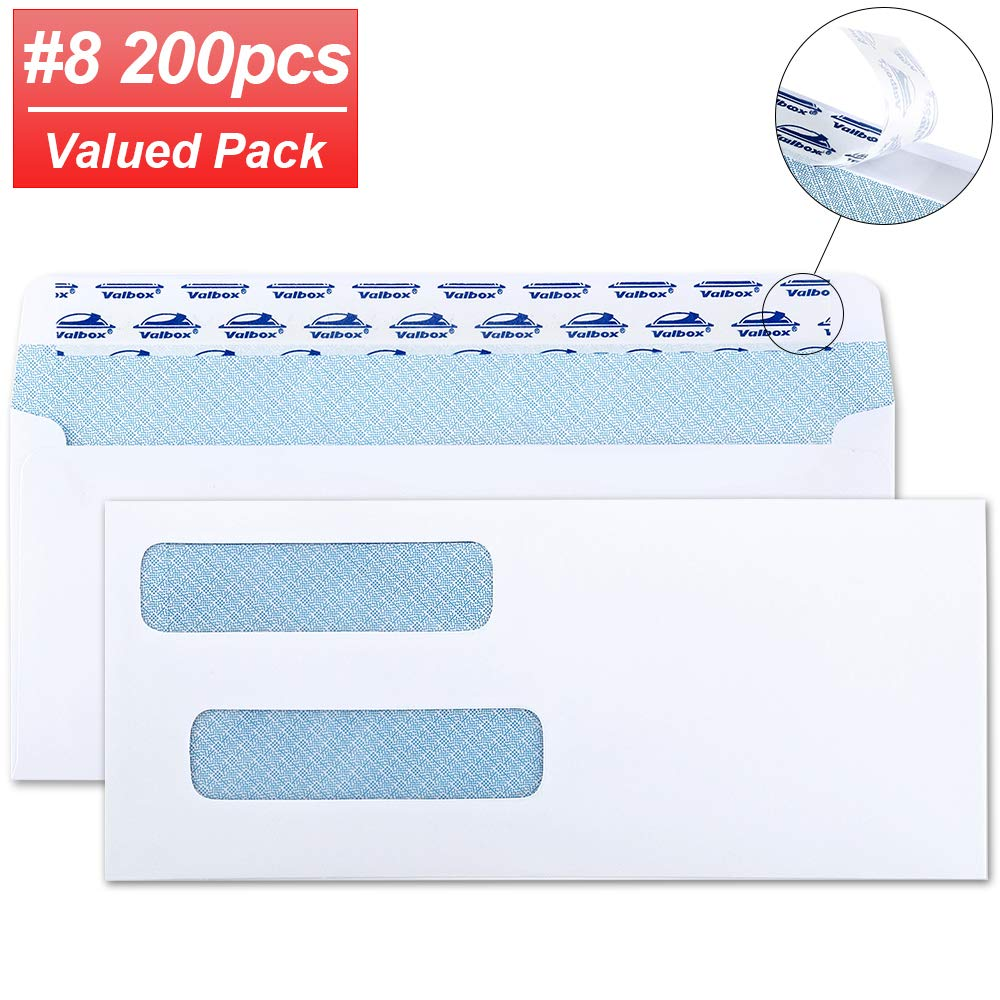 """ValBox 200 Count #8 Double Window Envelopes 3 5/8"""" x 8 11/16"""" Flip and Seal Double Window Security Check Envelopes- Security Tint Pattern Designed for Home Office Secure Mailing"""