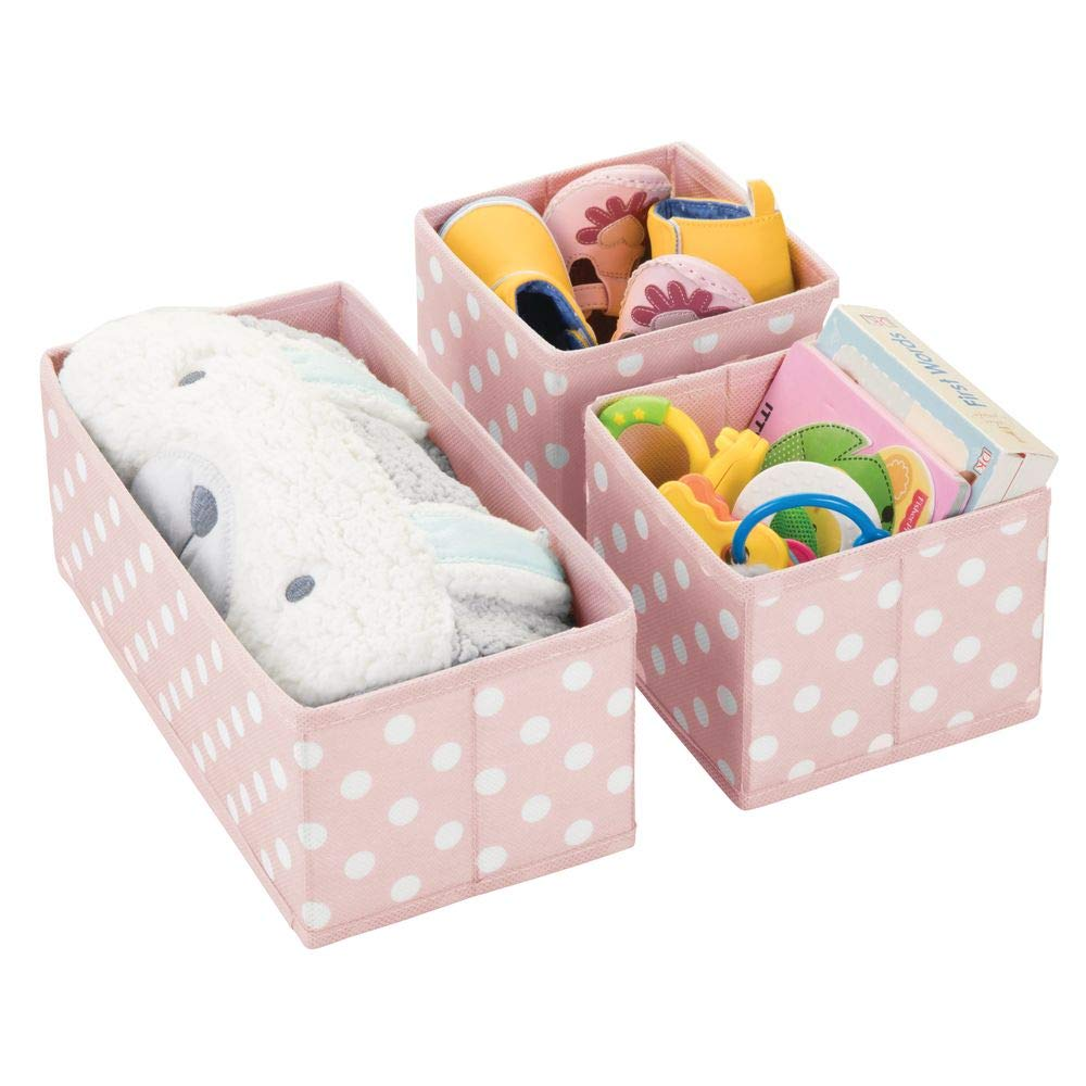 mDesign Soft Fabric Dresser Drawer, Closet Storage Organizers for Child/Kids Room, Nursery, Playroom - Holds Boys, Girls, Baby Clothes, Onsies, Diapers, Wipes - Polka Dot Print, Set of 3 - Pink/White