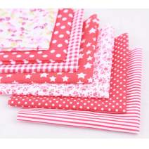 Cotton Fabric for Sewing,Fat Quarters Fabric Bundles Quilting Supplies red 7pcs Fabric Cotton