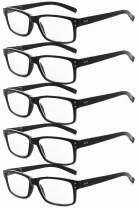 Eyekepper Mens Non-Magnification Glasses-5 Pack Black Frame Glasses for Men,+0.00 Eyeglasses Women