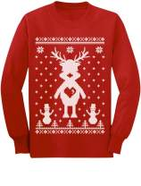 Reindeer Ugly Christmas Sweater Style - Cute Long Sleeve Kids T-Shirt