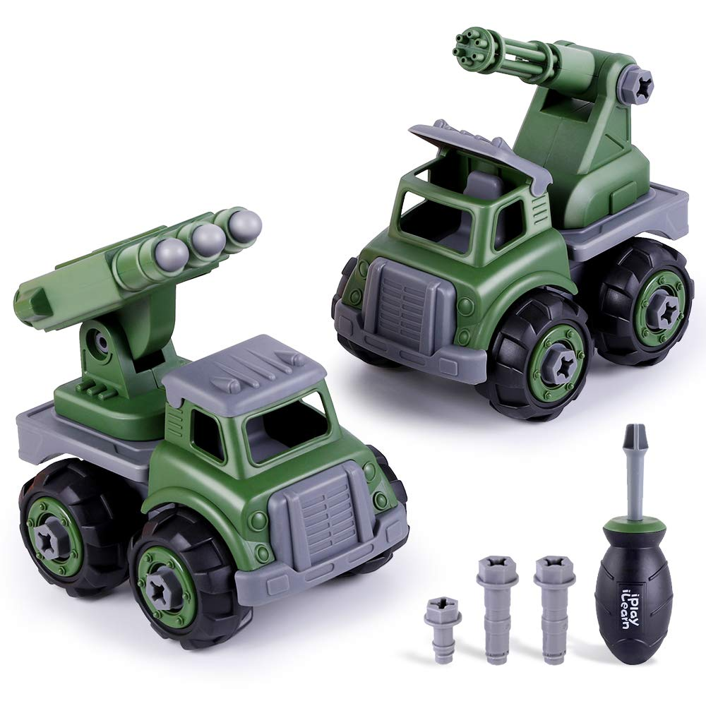 iPlay, iLearn Army Toy Trucks, Take Apart Toys W/ Screwdriver, Assembly Military Vehicles, Build Your Own Play Set, STEM Learning Gift for 3, 4, 5, 6 Year Olds Boys, Girls, Kids, Toddlers, Children