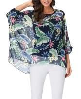 Nicetage Batwing Tops for Women Summer Bohemian Chiffon Blouse Floral Loose Shirt Beach Tunic Tops