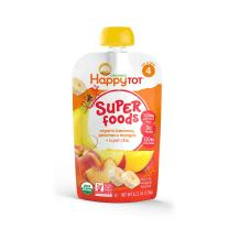 Happy Tot Superfoods Stage 4 Organic Toddler Food Banana Peach Mango Stage, Toddler Snack Pouch, Fruit and Veggie Puree, with Omega-3 Fiber Vitamin C, 4.22 Ounce