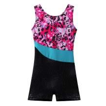 BAOHULU Leotard for Girls Gymnastics Toddler Sparkle Stripes Tank Biketards One Piece