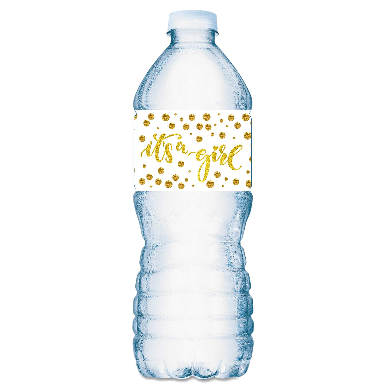 20 Gold It's a Girl Oh Baby Water Bottle Labels; Baby Shower Set of 20 Waterproof Water Bottle Wrappers; Gold and White.