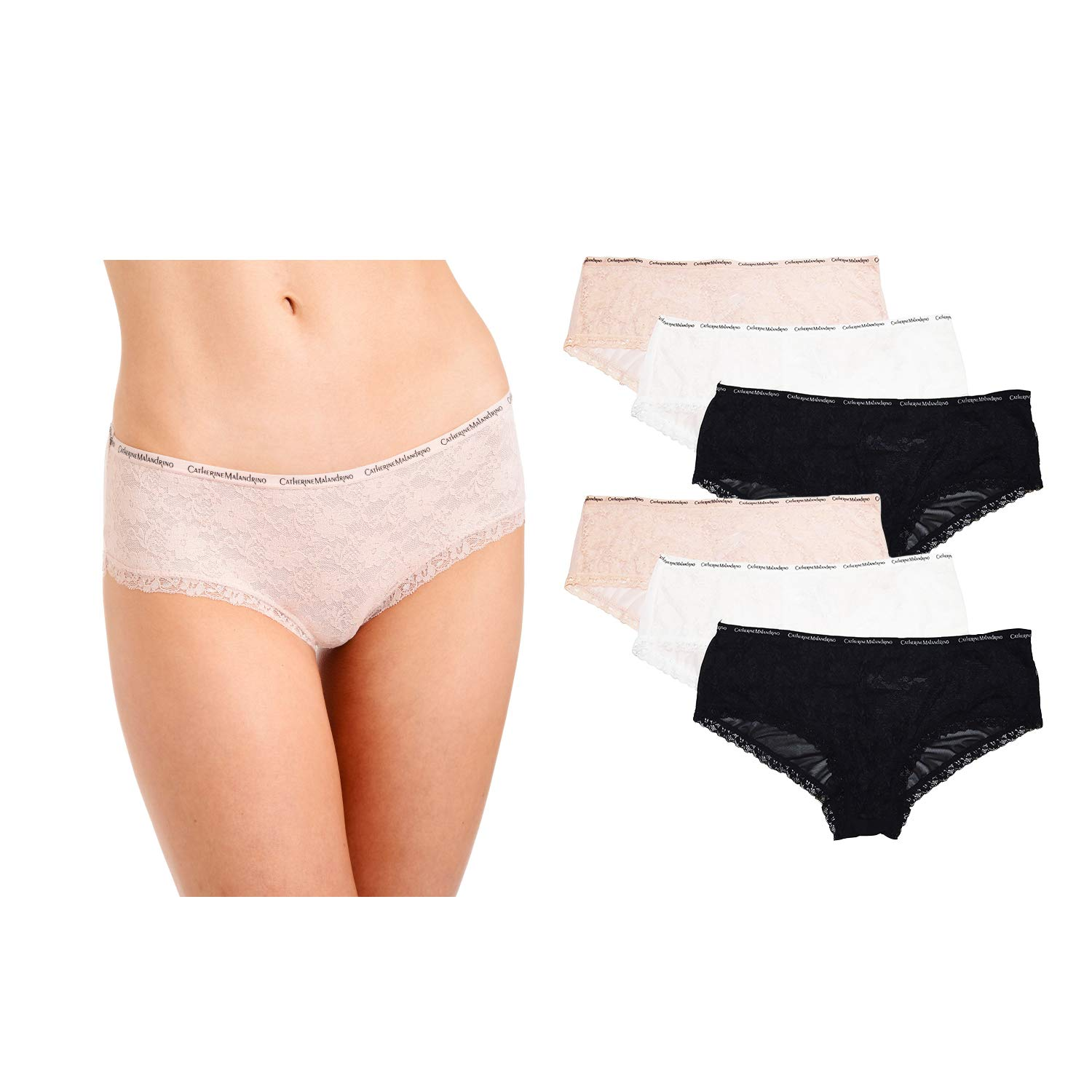 CATHERINE MALANDRINO Women's 6-Pack Seamless Lace Underwear Hipster Panties , Black/White/Pink